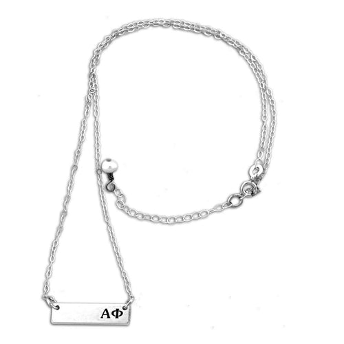 Alpha Phi Bar necklace with adjustable chain.
