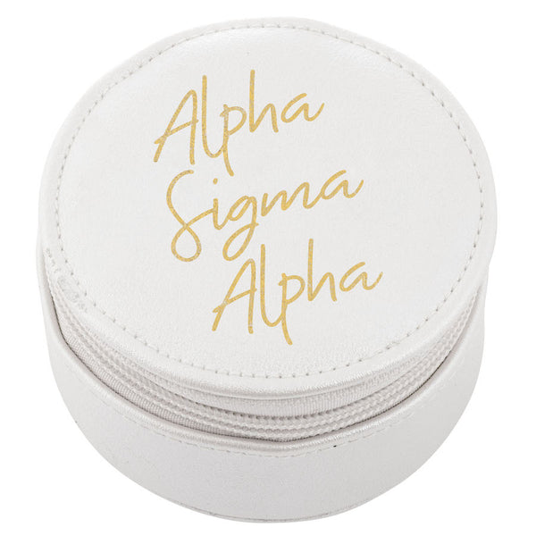 Alpha Sigma Alpha Travel Case I White & Gold