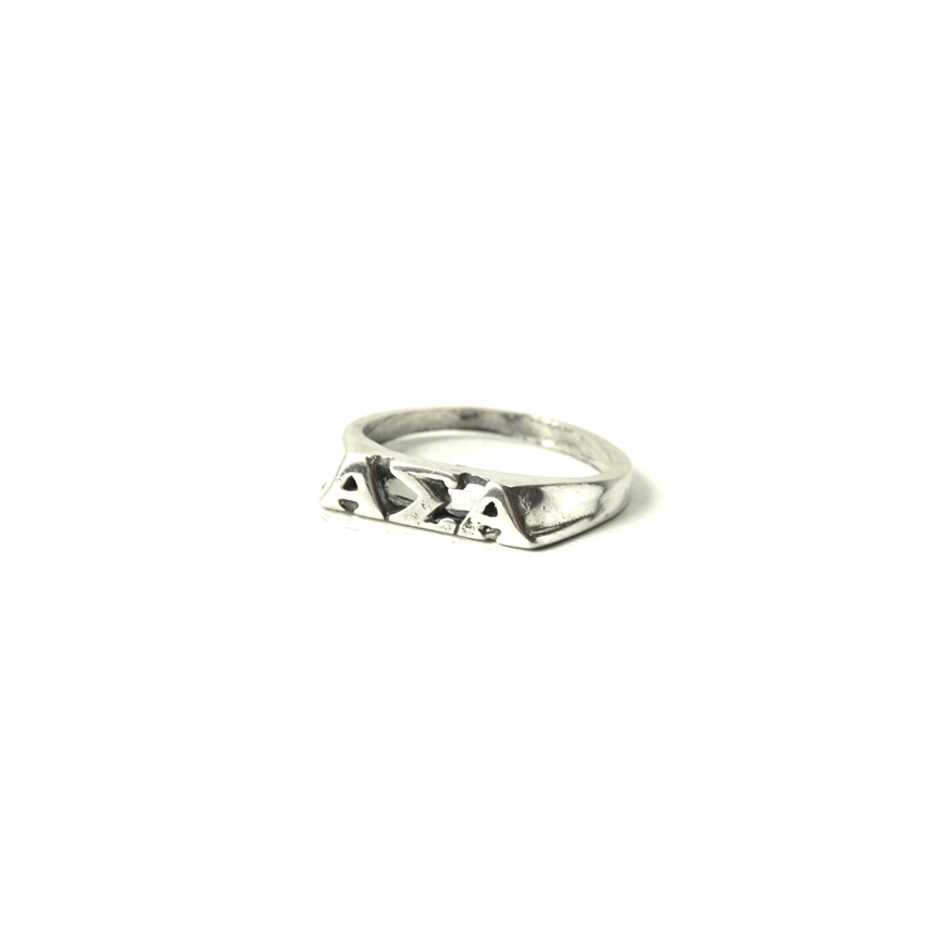 Alpha Sigma Alpha Ring . Block Greek Letters . Sterling Silver