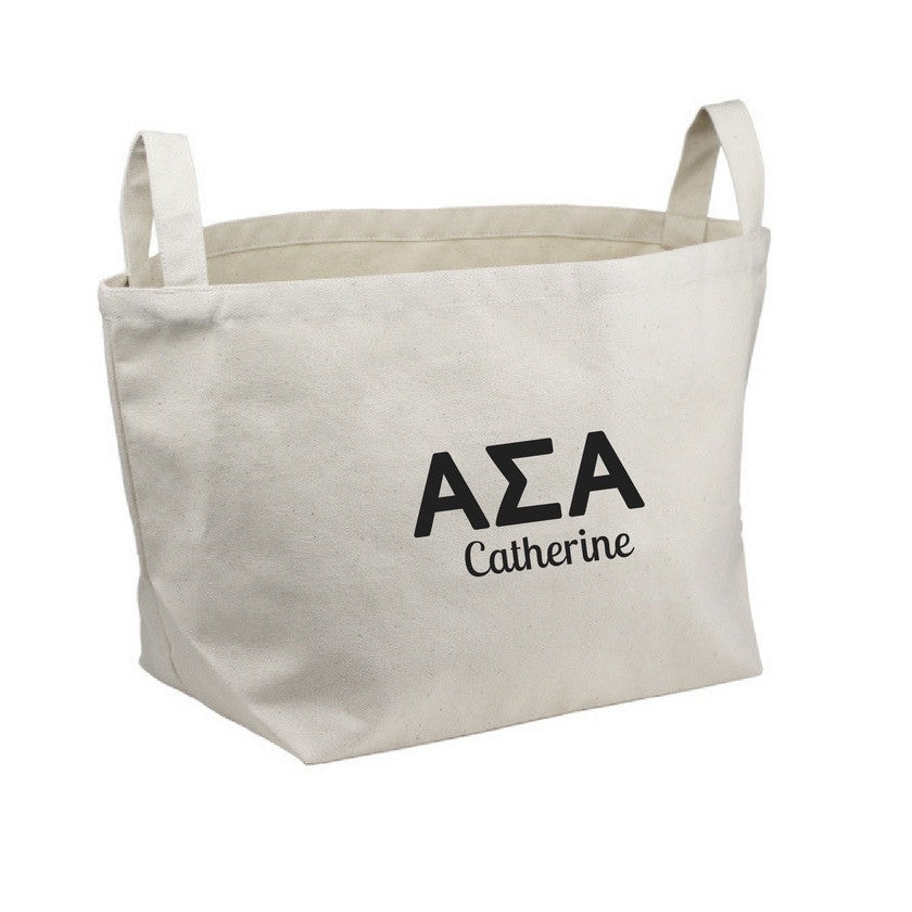 Alpha Sigma Alpha storage tote bin with Greek Letters and handles. Shop all our coordinating sorority decorations.