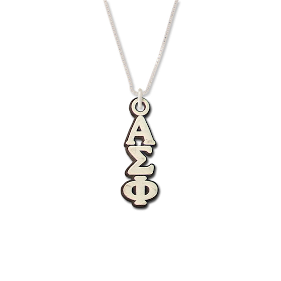 Alpha Sigma Phi Lavalier sterling silver. Add a 16 in, 18 in, or 20 in sterling silver box chain. Is it a gift? Let us ship for you in a gift box tied with ribbon and a handwritten gift card.