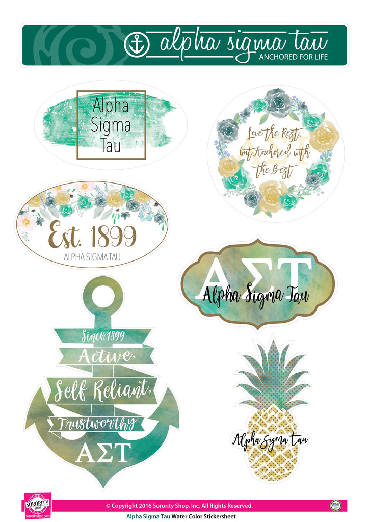 Alpha Sigma Tau Sticker Sheet . Water Color