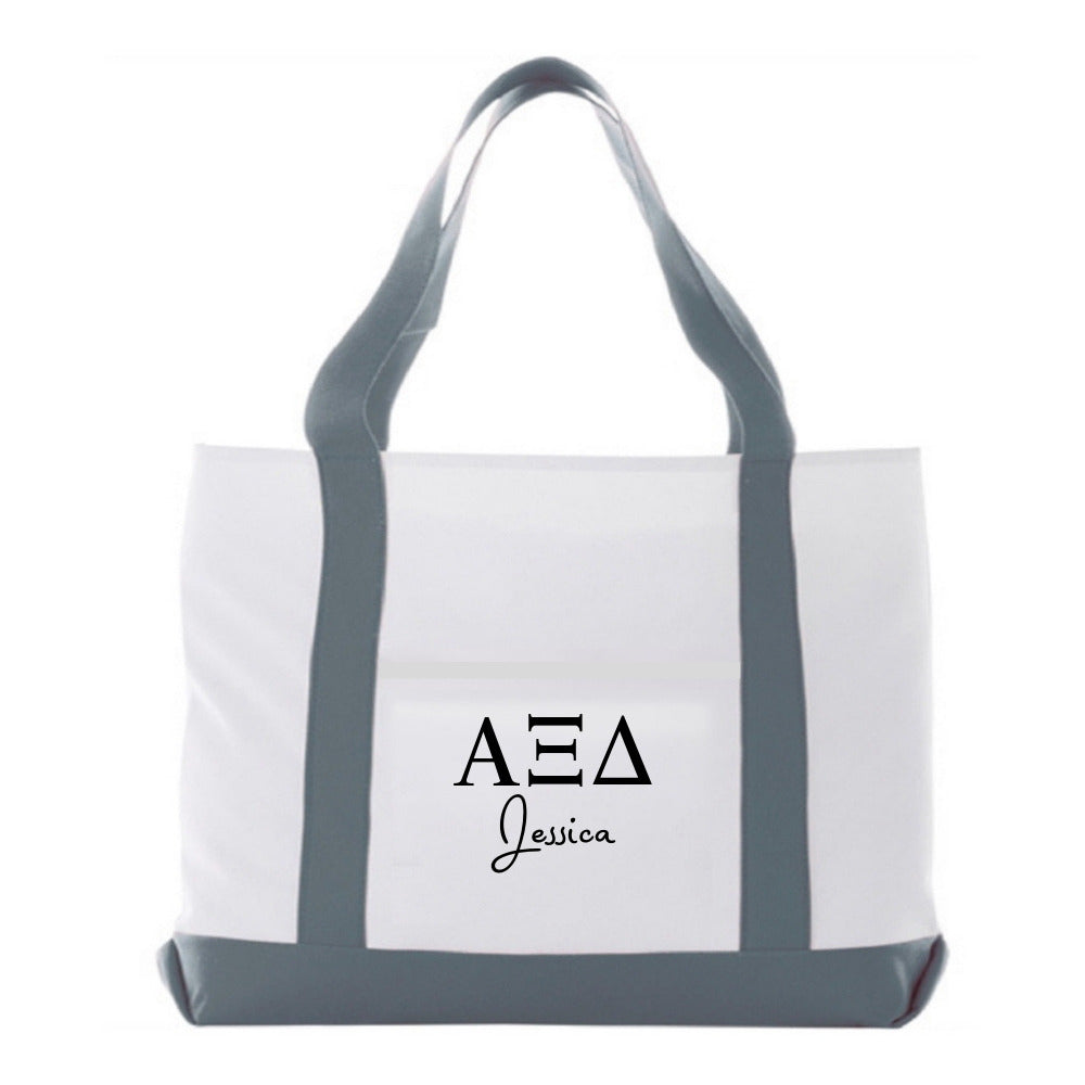 Personalized Alpha Xi Delta bag, oversized overnight tote or book bag.