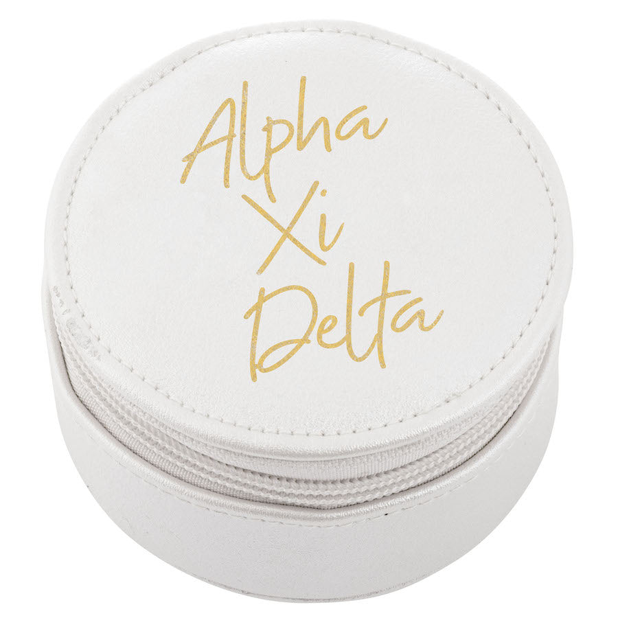 Alpha Xi Delta Travel Case I White & Gold I On Sale