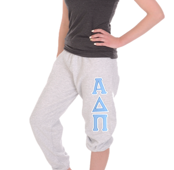 Alpha Delta Pi Sweatpants featuring open leg, pockets, and stitched Greek Letters. Shop #AlphaDeltaPi clothing at M&D Sorority Gifts. 200+ #ADPI products available. #mdsororitygifts