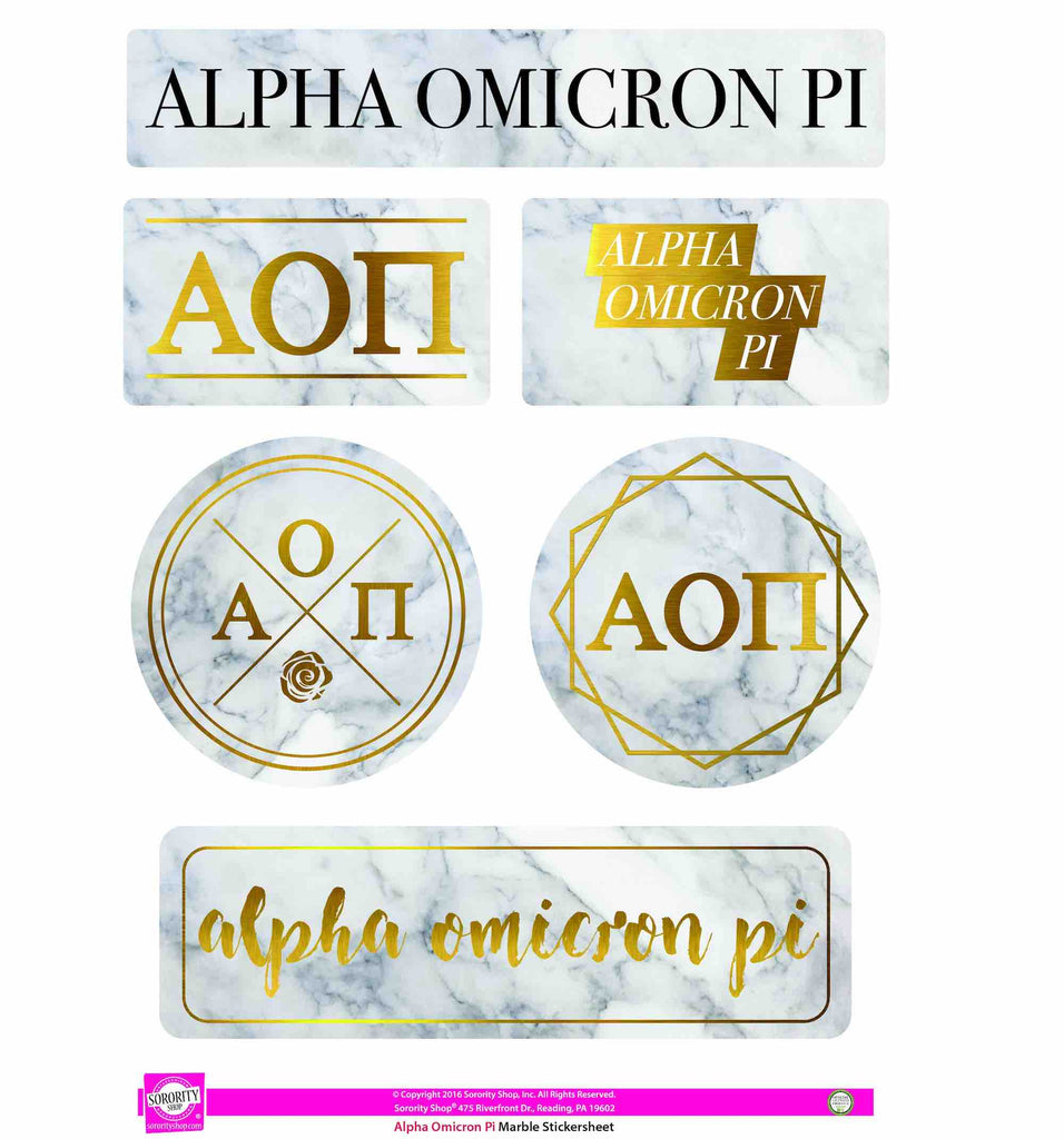 Alpha Omicron Pi Sticker Sheet . Marble
