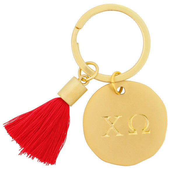 Chi Omega Keychain Gold with Color Tassel