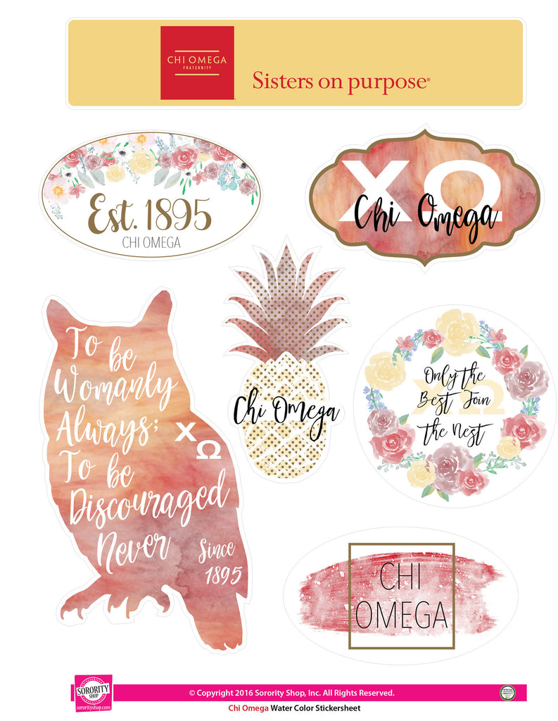 Chi Omega Sticker Sheet . Water Color