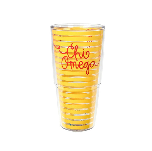 Chi Omega Tervis Tumbler in fun sorority colors. Shop #ChiOmega merchandise at M&D Sorority Gifts.  200+ #CHIO products available. #mdsororitygifts