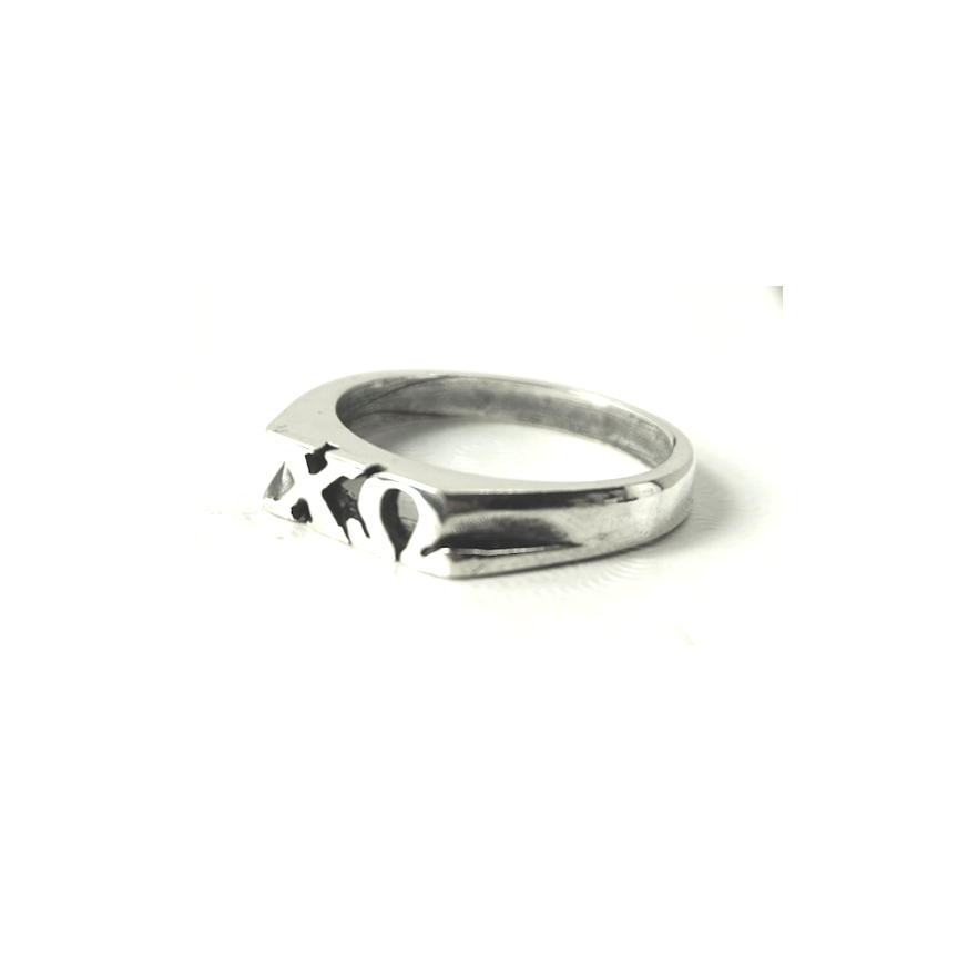 Chi Omega Ring   Block Greek Letters   Sterling Silver