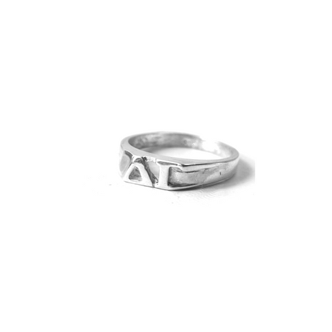 Delta Gamma Ring with Greek Letters Sterling Silver.