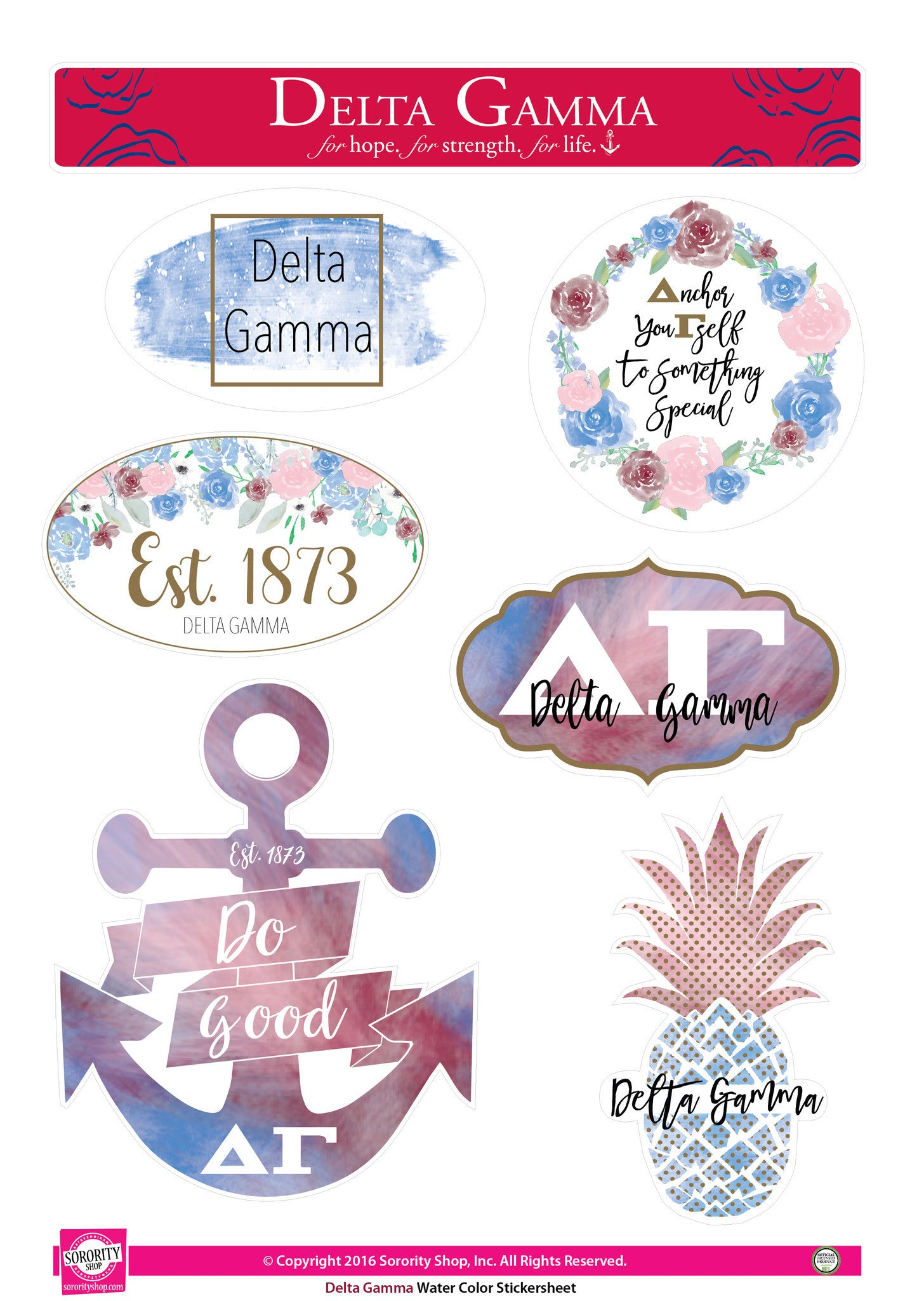 Delta Gamma Stickers watercolor designs