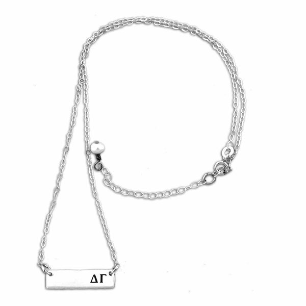 Delta Gamma Bar necklace with adjustable chain.