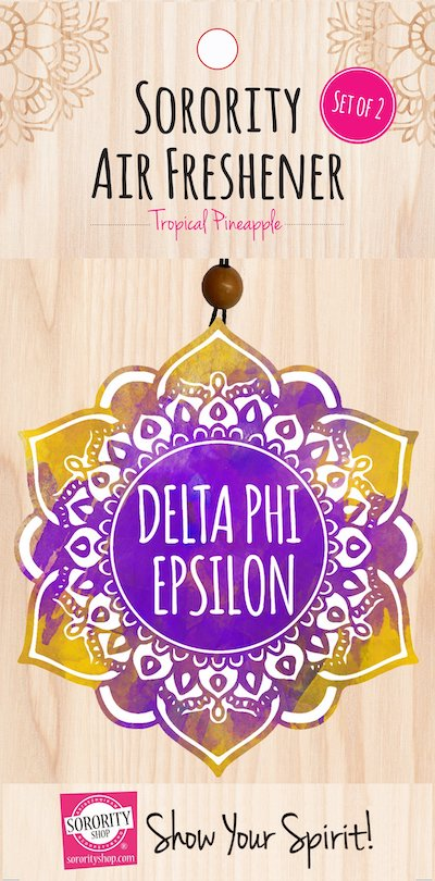 Delta Phi Epsilon air fresheners come in a 2 pack! One for the car and one for the glove box!