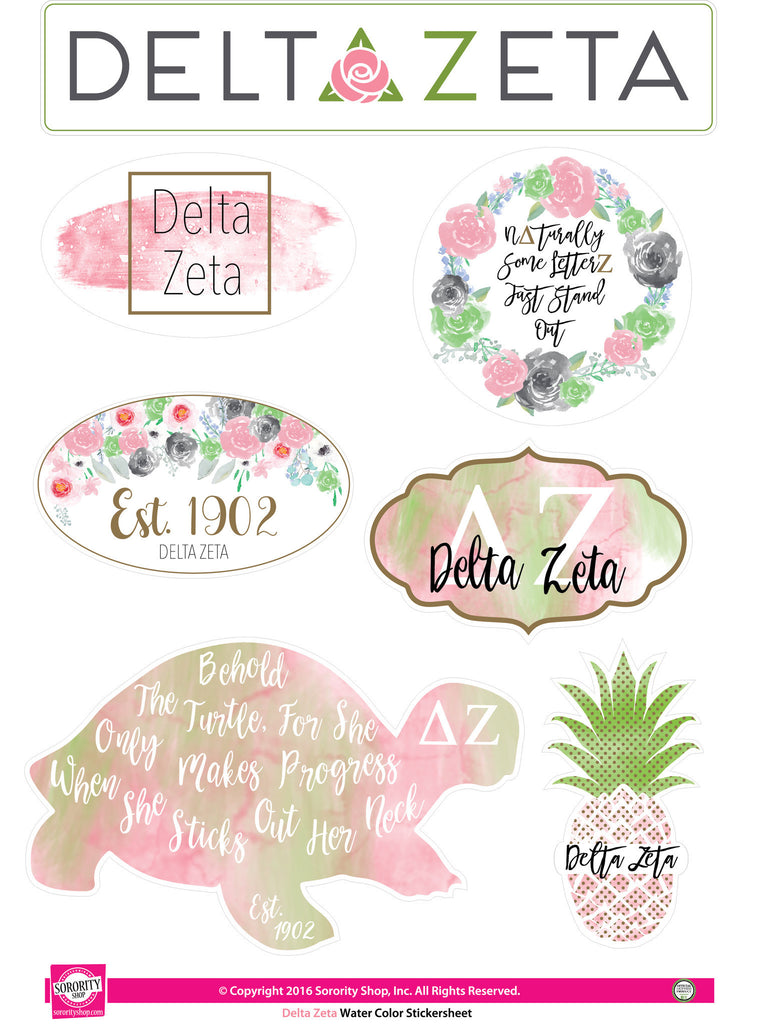 Delta Zeta Sticker Sheet . Water Color