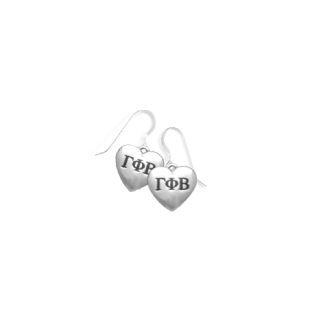 Gamma Phi Beta Earrings . Heart . Sterling Silver