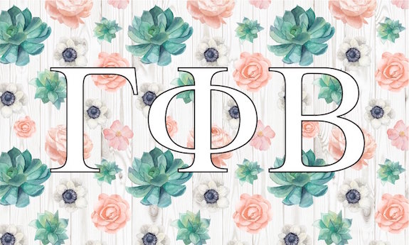 Gamma Phi Beta Flag with succulent background and Greek Letters. Coordinates nicely with tan or white decorative pillows. Shop dorm decor.