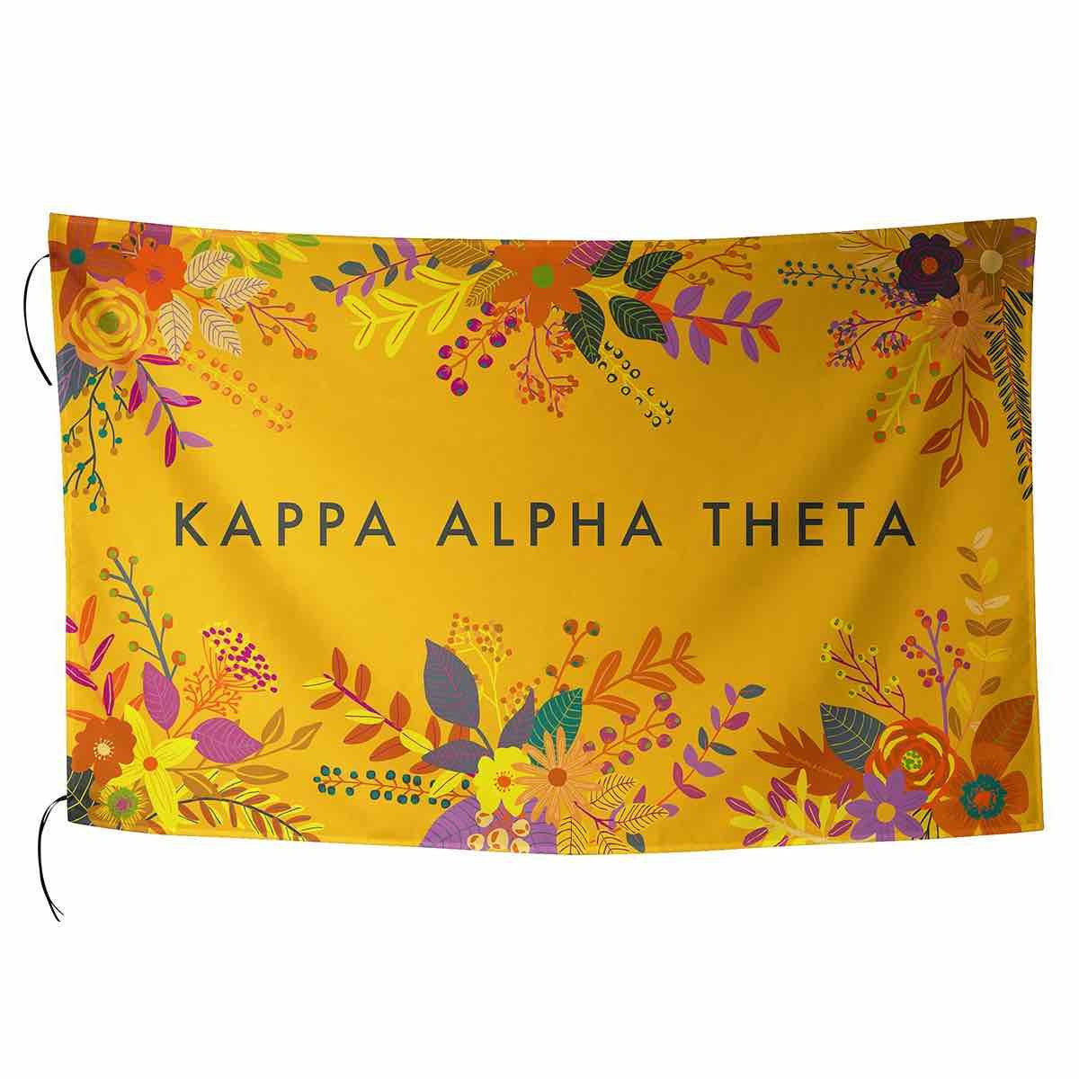Kappa Alpha Theta Flag in pretty pink with tropical palm leaves and sorority name in cursive.