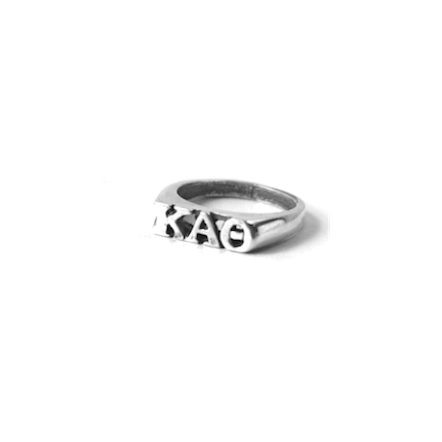 Kappa Alpha Theta Ring . Block Greek Letters . Sterling Silver