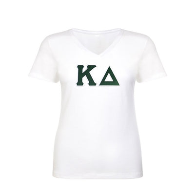 Kappa Delta shirt with two layer stitched Greek Letters. commercial sitched to last. Sewn Greek letters that will last longer than your shirt!