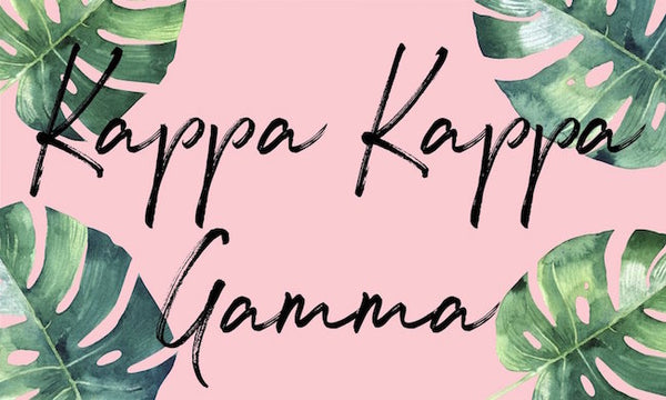 Kappa Kappa Gamma Flag with colorful floral background. Coordinating floral and gold Greek Lettered pillowcase available.