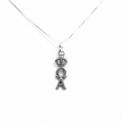 Phi Omega Alpha Lavaliers sterling silver. Add a 16 in, 18 in, or 20 in sterling silver box chain. Is it a gift? Let us ship for you in a gift box tied with ribbon and a handwritten gift card.