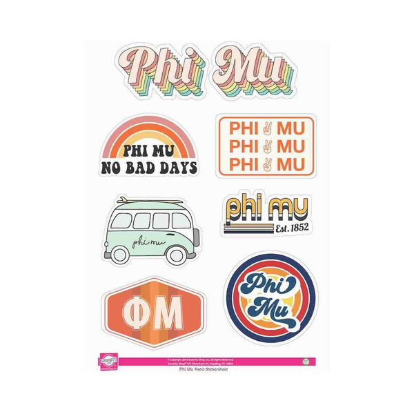 Phi Mu you'll agree is the grooviest sorority. Check out these awesome 70 inspired sorority stickers.