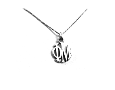 Phi Mu Charm Charm Sterling Silver Monogram Circle Drop. Chains available.