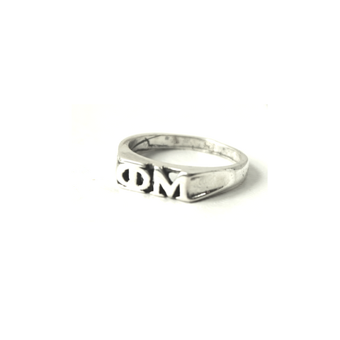 Phi Mu Ring with Greek Letters Sterling Silver.
