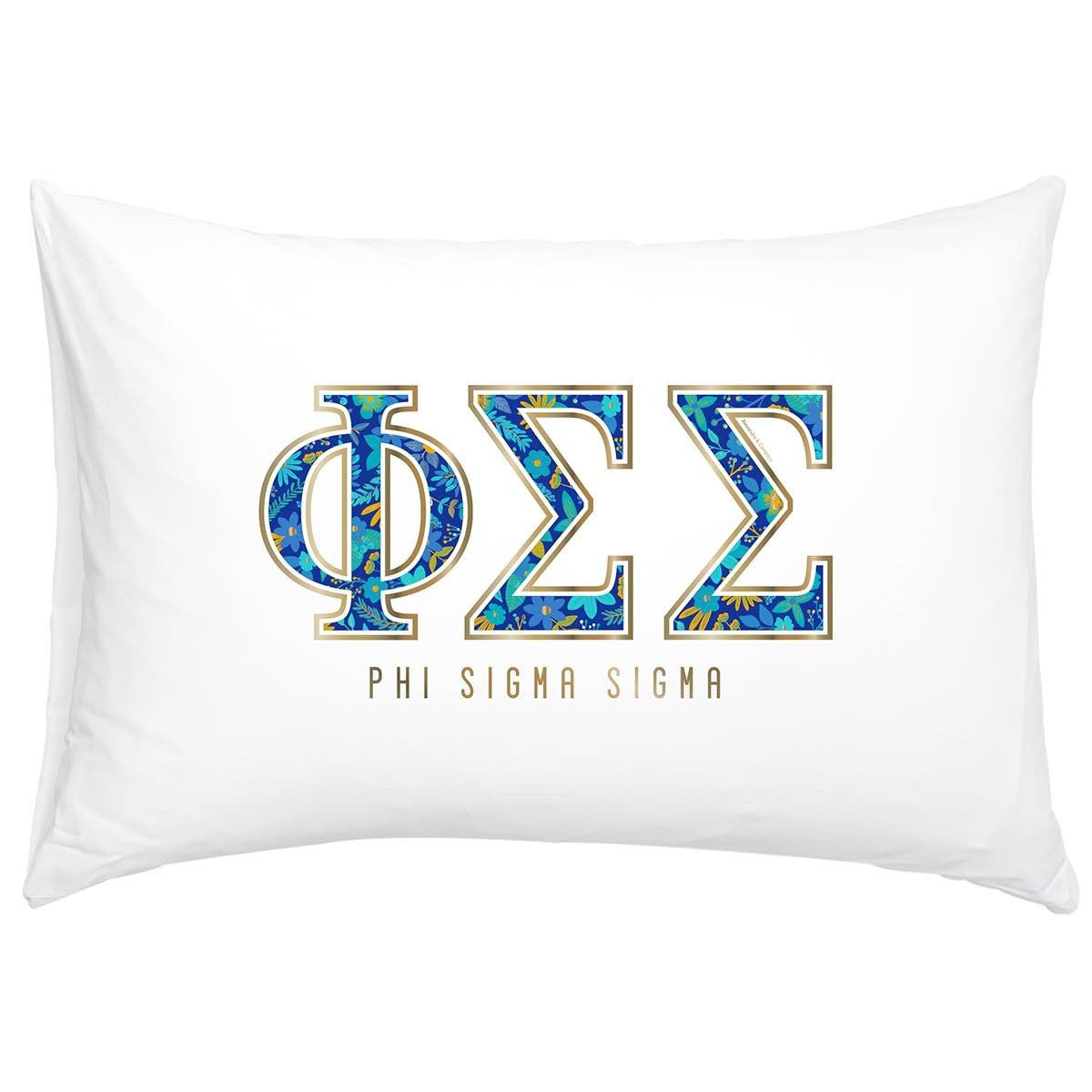 Phi Sigma Sigma Pillowcase with gold and floral print.