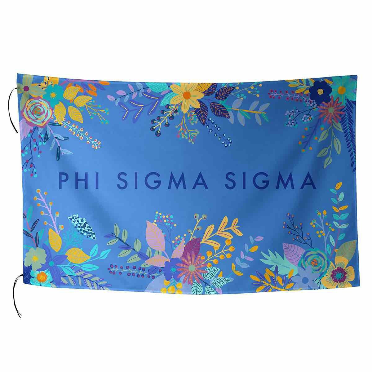 Phi Sigma Sigma Flag in pretty pink with tropical palm leaves and sorority name in cursive.