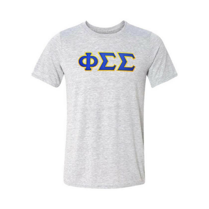 Phi Sigma Sigma T-shirt . Stitched Greek Letters . Two Layer