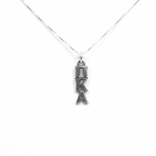 Pi Kappa Alpha Lavalier sterling silver. Add a 16 in, 18 in, or 20 in sterling silver box chain. Is it a gift? Let us ship for you in a gift box tied with ribbon and a handwritten gift card.