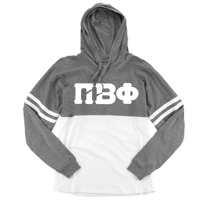 Pi Beta Phi Long Sleeve . Hoodie . White Stitched Greek Letters