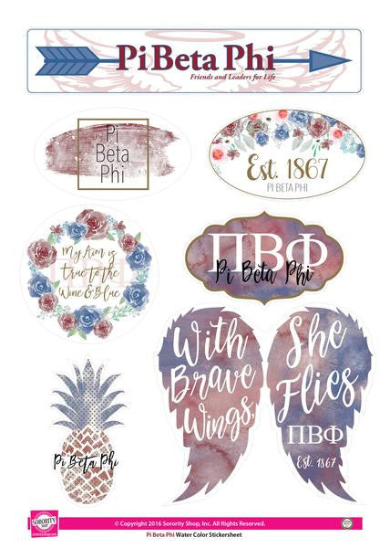 Pi Beta Phi Sticker Sheet . Water Color