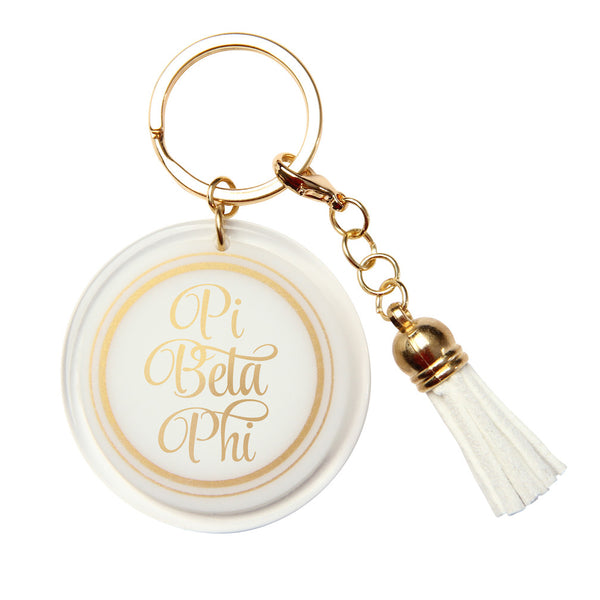 Pi Beta Phi Keychain White & Gold with Tassel