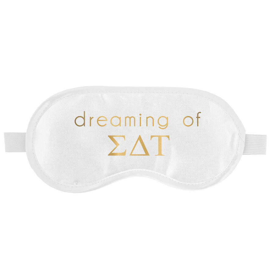 Sigma Delta Tau  Sleep Mask I Satin I White & Gold I On Sale