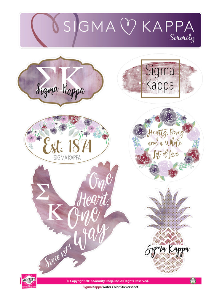 Sigma Kappa Sticker Sheet Water Color Design Md Sorority Gifts