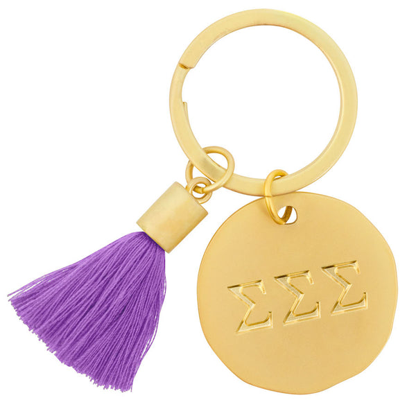 Tri Sigma Keychain Gold with Color Tassel