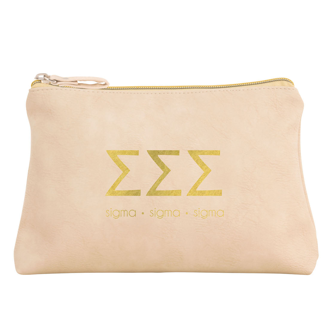Tri Sigma Cosmetic Bags I Gold Greek Letters