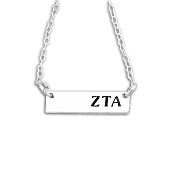 Zeta Tau Alpha Bar Necklace in Sterling Silver. Quality sorority jewelry that lasts. #ZetaTauAlpha recommended one size fits all sorority gift. Shop #ZTA