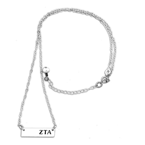 Zeta Tau Alpha Bar necklace with adjustable chain.