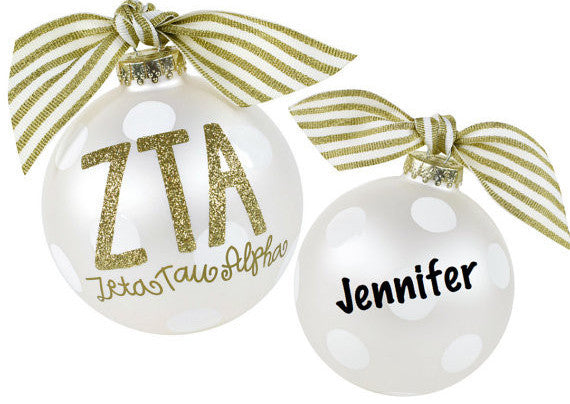 Zeta Tau Alpha Ornament, collectible gold greek letters