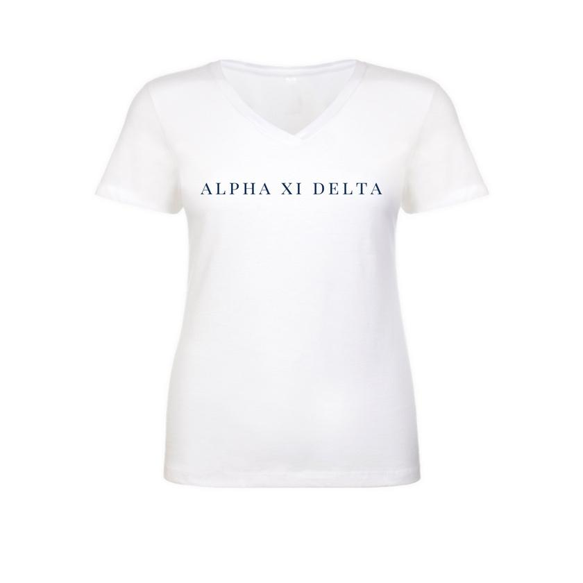 Alpha Xi Delta White v-neck t-shirt with sorority name across chest in block style lettering.