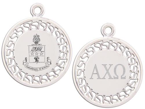 Alpha Chi Omega charm. Reversible filigree design with Greek Letters & Greek Crest.