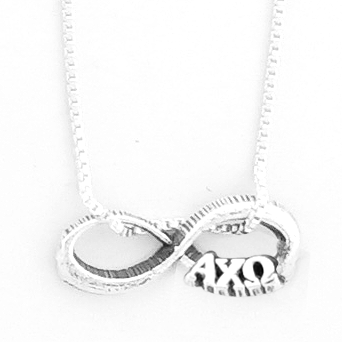 Alpha Chi Omega infinity charm with Greek letters.