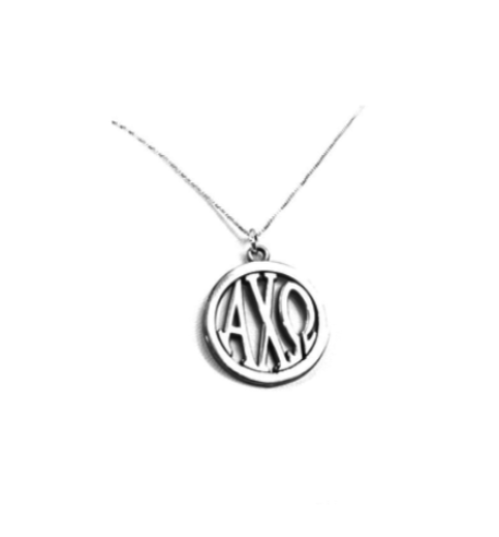 Alpha Chi Omega Charm: Large Greek Monogram in Beautiful Sterling Silver