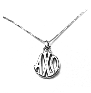 Alpha Chi Omega Charm Sterling Silver Monogram Circle Drop. Chains available.