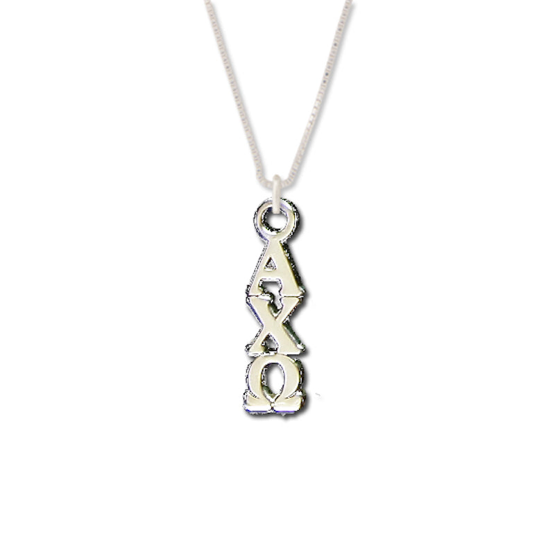 Alpha Chi Omega Lavaliers sterling silver. Add a 16 in, 18 in, or 20 in sterling silver box chain. Is it a gift? Let us ship for you in a gift box tied with ribbon and a handwritten gift card.