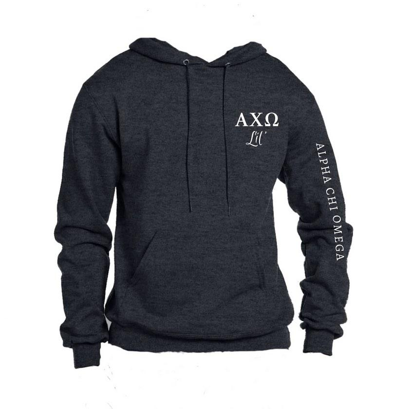 Big & Little Sweatshirts . Hoodie with Greek Letters & Sorority Name Down Arm (Select Sorority)